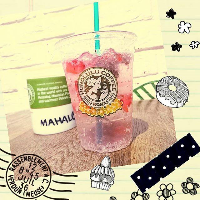 ホノルルコーヒーでストロベリーチアシードドリンクと、ストロベリーミルクティー #honolulucoffee